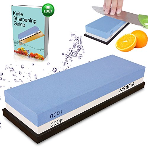Premium Knife Sharpening Stone, 2 Side 1000/4000 Grit Whetstone, Best Kitchen Blade Sharpener Stone with Rubber Holder, Best for Kitchen & Outdoor Knives etc.