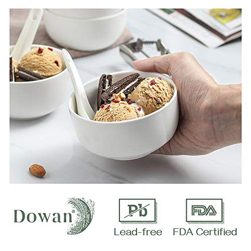 DOWAN 10 Ounces Porcelain Bowls Set, 6 Packs, Small Bowls, Ceramic White Bowls for Kitchen, Dessert Bowls for Ice Cream, Small Serving Bowls for Dipping, Rice, Prep, Side Dishes,Cereal,Microwave Safe