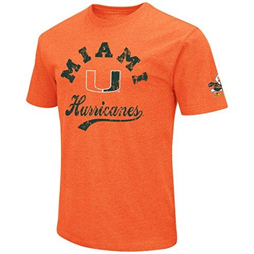 NCAA Colosseum Men's Vintage Dual-Blend T-Shirt with 2 Logos (Miami Hurricanes-Orange, Medium) ()