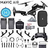 DJI Mavic Air Quadcopter Arctic White Bundle with 2 Batteries, Sandisk Ultra 32GB Card, Foldable Landing Pad, Lens Hood, Height Extender + More!