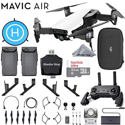 DJI Mavic Air Quadcopter Arctic White Bundle with 2 Batteries, Sandisk Ultra 32GB Card, Foldable Landing Pad, Height Extender + More!
