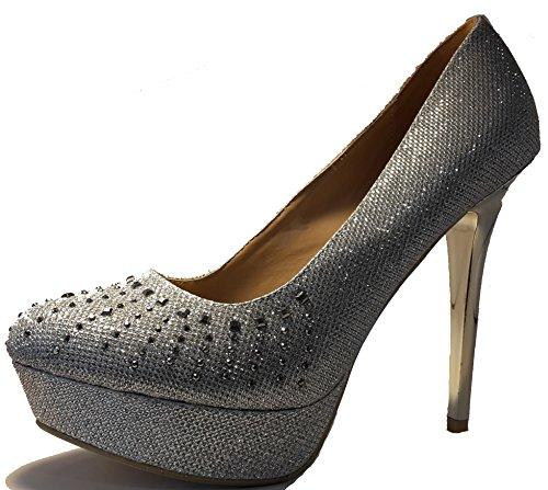 3-W-Hohenlimburg Stiletto Glitzer Pumps High Heels, Damenschuhe. Die Besonderen Ausgehschuhe. PHH125. Blau, Rot, Silber, Gold, Grau oder Oliv-Grün. Silber.