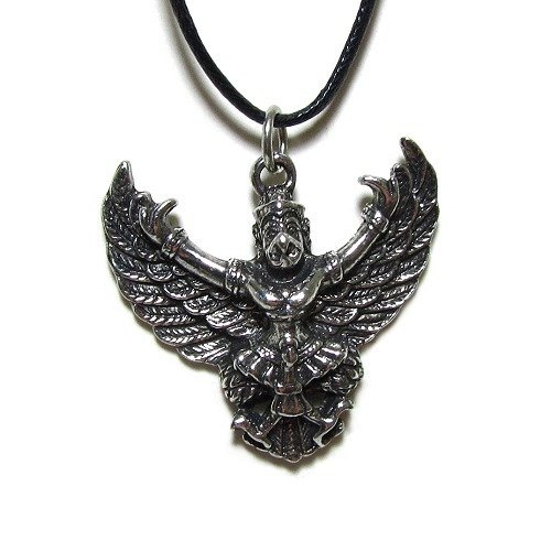 Garuda the Hindu Deity Pendant on Cord Necklace, The Veda Collection