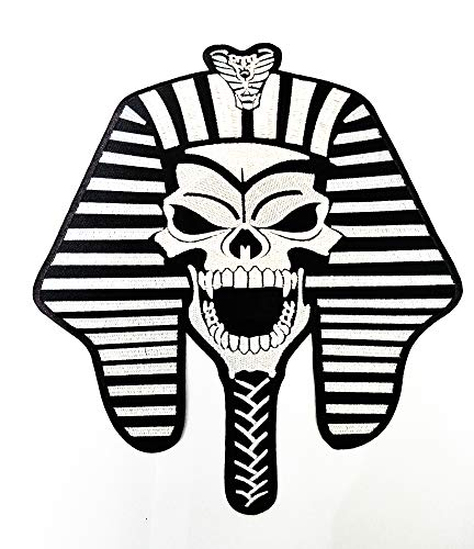 """9.2"""" X10.2"""" Jumbo Mafia Skull Patch Skull of Egyptian Tribe Ancient Tribe Cartoon Logo Jacket t-Shirt Jeans Polo Patch Iron on Embroidered Logo Motorcycle Rider Biker Patch by Tour les jours Shop"""