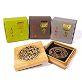 TopA+ Grade Agarwood Incense Coils Set - 3 levels each 10pcs - With Wood Burner Case