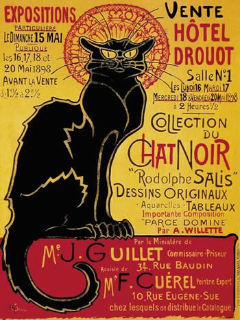French Advertising Sign - Chat Noir Black Cat Hotel Druout