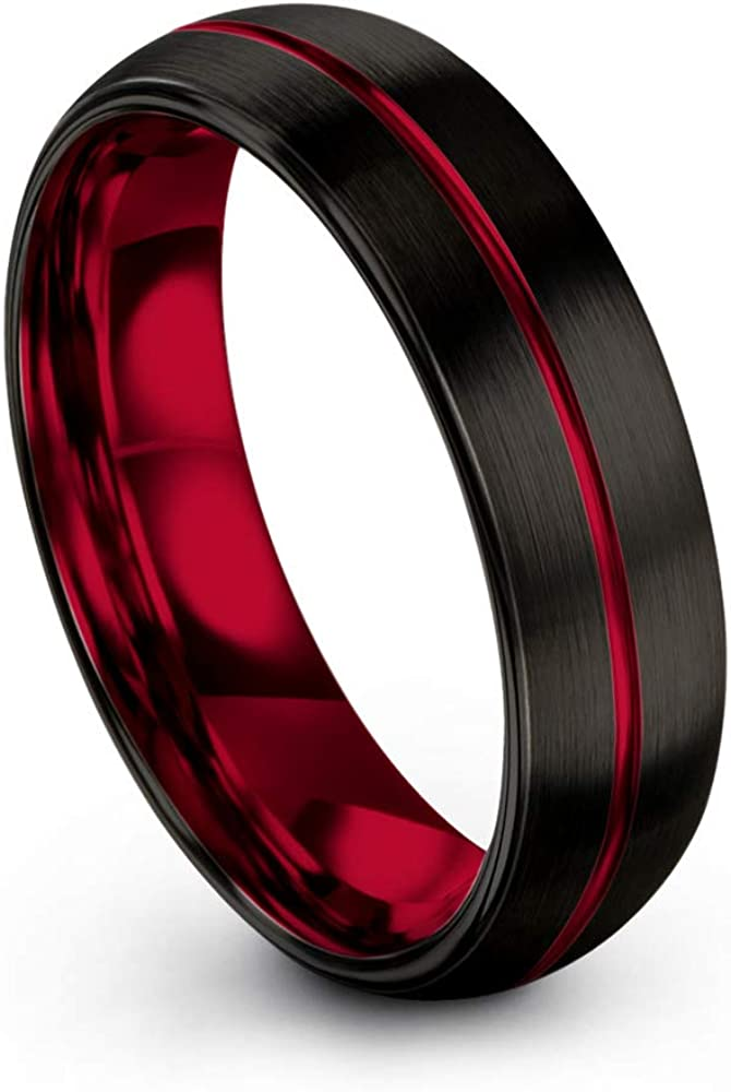 Chroma Color Collection Tungsten Carbide Wedding Band Ring 6mm for Men Women Green Red Fuchsia Copper Teal Blue Purple Black Center Line Dome Black Brushed Polished