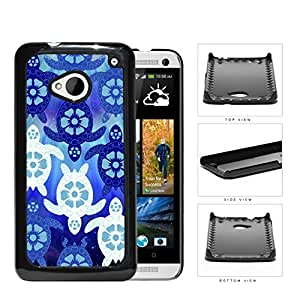Blue Sea Turtles With Floral Designs Hard Plastic Snap On Cell Phone Case HTC One M7