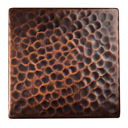 The Copper Factory CF144AN Solid Hammered Copper 4-Inch by 4-Inch Decorative Accent Tile, Antique Copper by The Copper Factory