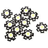 Uxcell a14073100ux0209 10x Pure LED Lamp Light Emitter Bead, 20 mm Heatsink, 1W, 3.0-3.6V, 350 mA, White