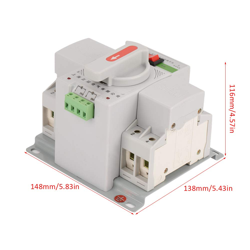 Hilitand 220v 63a Automatic Transfer Switch Mini Intelligent Dual 4 Circuit Electronic Power Breaker 2p