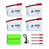 Noiposi 4 pcs 3.7v 750mAh 25c Lipo Battery (JST Plug) with X4 Charger for MJX X400 X400W X800 X300C Sky Viper S670 V950hd V950str HS200W National Geographic Quadcopter Drone