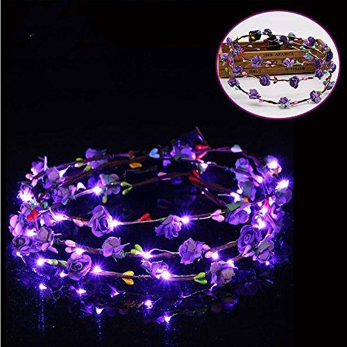 - 5 -Pack LED Light up Rose Flower Fairy Elegant Wreath Crown Garland Headband Halo Floral Headpiece Wedding Festival Party Hair Decoration Adjustable band Make up Headdress (5pcs Purple)