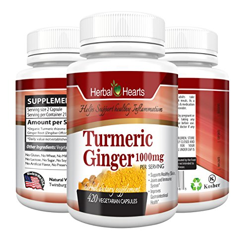 Turmeric Curcumin and Ginger Capsules – Fresh and Organic (420)- Herbal hearts