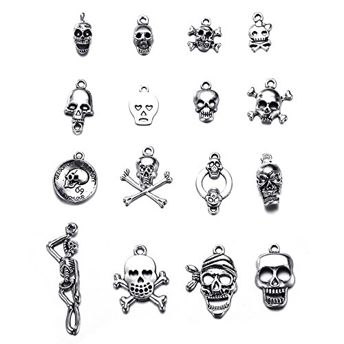 32pcs Mix Style Charms Pirate Skeleton Skull Tibetan Silver Vintage Pendants for Jewelry Making DIY Bracelet Necklace (32pcs-Mixed Skull) -