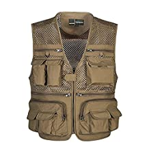 MagiDeal Summer Autumn Men Multifunctional Multi Pocket Photography Fishing Mesh Vest Outdoor Quick-Drying Travel Jacket Waistcoat M-XXXXL