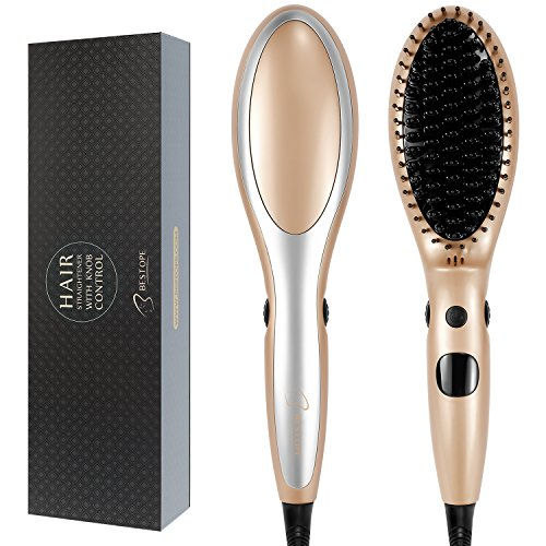 Price comparison product image BESTOPE Hair Straightener Brush Anion Ceramic Heating Electric Straightening Brush With Anti-Scald Straightener Brush for Silky Straighten Brush6 Temp Levels, Max 430°F (Gold)