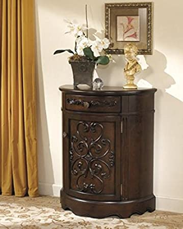 Ashley Furniture Signature Design   Norcastle Accent Cabinet   Antique  Style   Semi Circle   Dark