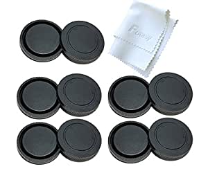 Fotasy Rear Lens Cover & Camera Body Cap Set for Sony NEX E-Mount Cameras and Lenses (5 Packs)