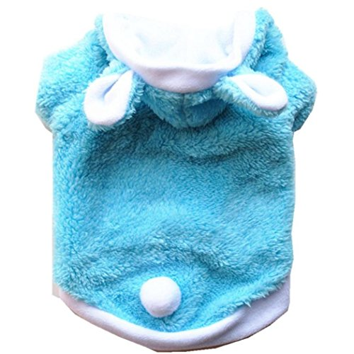 Letdown Pet Sweater, Winter Warm Fashion Cute Rabbit Clothing Puppy and Kitten Pet Transform Clothes (XS, Sky Blue)