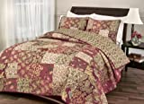Hedaya Stanfield Reversible Quilt Set, Traditional Floral Patchwork Quilt, 3-Piece Set with Quilt and Pillow Shams - Full/Queen, Stanfield