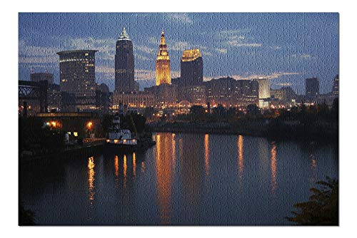 Cleveland, Ohio - Cleveland Skyline at Dusk - Photograph A-92983 (20x30 Premium 1000 Piece Jigsaw Puzzle, Made in USA!)