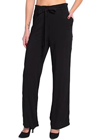 15522009 TheMogan Women's Belted Pleated High Waist Soft Trousers - Black - Medium