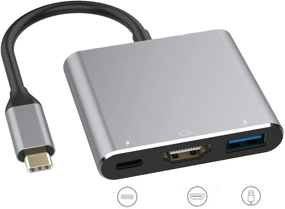 USB C to HDMI Adapter, Type C Multiport Converter,Cable Hub to 4K HDMI, USB 3.0 Port, USB C Charging Port, USB C Digital AV Adapter for MacBook/iPad Pro/MacBook (Silvery)