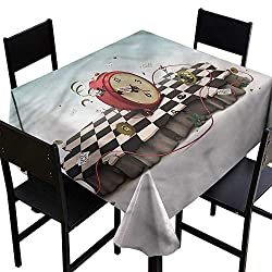 haommhome Elegant Waterproof Spillproof Polyester Fabric Table Cover Surrealistic Old Clock and Rope Soft and Smooth Surface W63 xL63 Waterproof/Oil-Proof/Spill-Proof Tabletop Protector