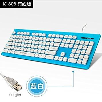 Vaevancom Teclado Delgado Cable De Consola De Oficina De La Consola Impermeable Silencioso Color Inalámbrico Externo Todos Los USB, Azul Y Blanco: ...