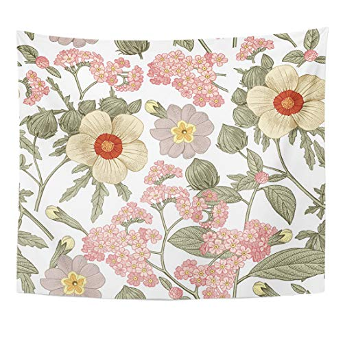 Emvency Tapestry Beautiful Pink Blooming Realistic Flowers Vintage Primula Hibiscus Heliotrope Wildflowers Baroque Drawing Home Decor Wall Hanging for Living Room Bedroom Dorm 60x80 -