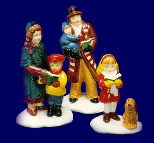 Department 56 Snow Village Caroling Family RETIRED 3 Pieces Figures (Caroling Figurine Set Christmas)
