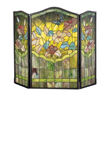 Screen Fireplace Glass Stained Butterfly - 40 Inch W X 34 Inch H Butterfly Fireplace Screen Fireplace Screens