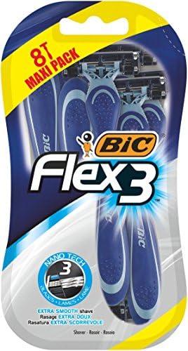 Bic Flex 3 Comfort scheerapparaten voor heren 8 stuks met drie beweegbare messcheermesjes en smeerstrips voor een extra glad scheerapparaat