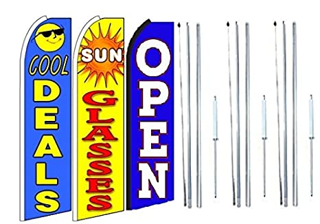 Pack of 3 Cool+Deals,+Sun+Glasses Grand Opening King Swooper Feather Flag Sign Kit with Complete Hybrid Pole Set