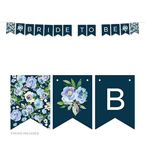 Andaz Press Navy Blue Hydrangea Floral Garden Party Wedding Collection, Hanging Pennant Party Banner with String, Bride to Be, 5-Feet, 1 Set Beauty Hydrangea