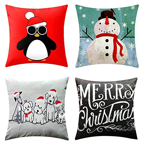 NATURALSHOW Merry Christmas Series Throw Pillow Case Decorative Cushion Cover Pillowcase Square 18in-Set of 4
