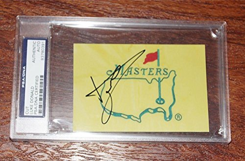LUKE DONALD Signed Auto MASTERS Golf Flag 3x5 Photo + SLABBED authentic - PSA/DNA Certified - Autographed Pin Flags