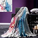 Girls Digital Printing Blanket Sketchy Fashion Lady with Hat Looking Watercolor Splash Brushstroke Steam Artsy Image Summer Quilt Comforter 80''x60'' Pink Blue