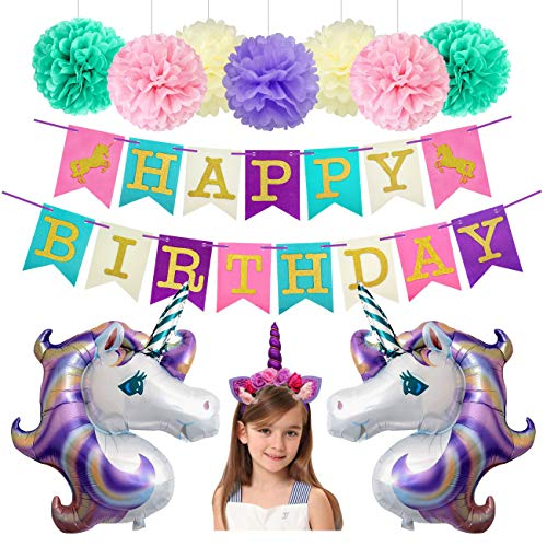 Unicorn Birthday Party Decorations Foil Balloons Glitter Happy Birthday Banner Paper Pom Poms Kit