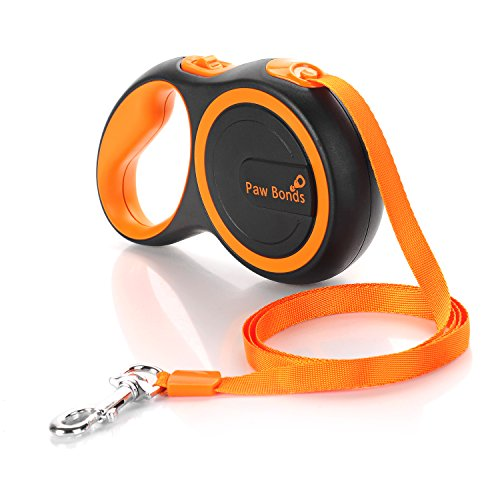 Pawbonds Retractable Dog Leash For Small Medium Breed Dogs up to 50lbs - Best For Walking, Running, Sport, Tangle Free.16ft Long Automatic Extendable Pet Lead - black orange