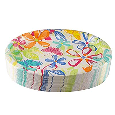 Artstyle (35 Pack) Paper Plates 10 x 12 Inch Oval Bulk Party Plates Set Picnic Birthday Party Supplies For Kids Adults: Kitchen & Dining