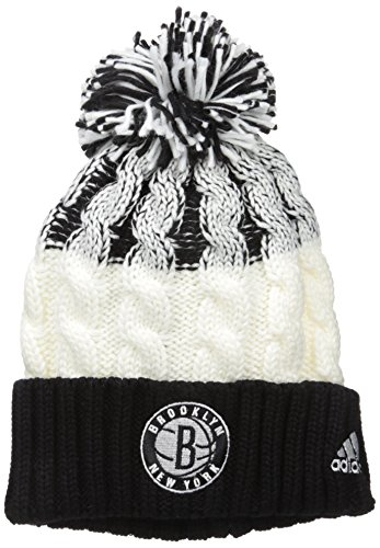 fan products of NBA Brooklyn Nets Retro Cuffed Knit With Pom, Black/Grey, One Size