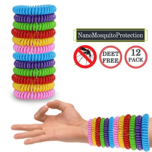 Control Insect Pest Natural (Mosquito Repellent Bracelets 12 Pack, Premium Quality, DEET-Free Natural Wristbands, Waterproof Bug, Protection Insects up to 200 Hours, Pest Control for Babies Kids Adults)