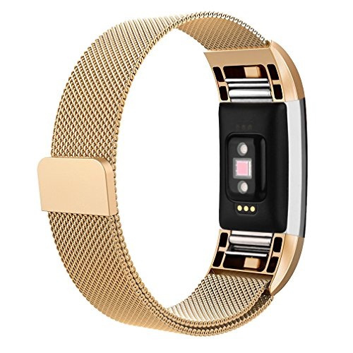 AK for Fitbit Charge 2 Bands, Adjustable Milanese Stainless Steel Metal Band Strap With Magnetic Closure Clasp For Fit Bit Charge 2 HR Fitness Tracker (Gold, Small)