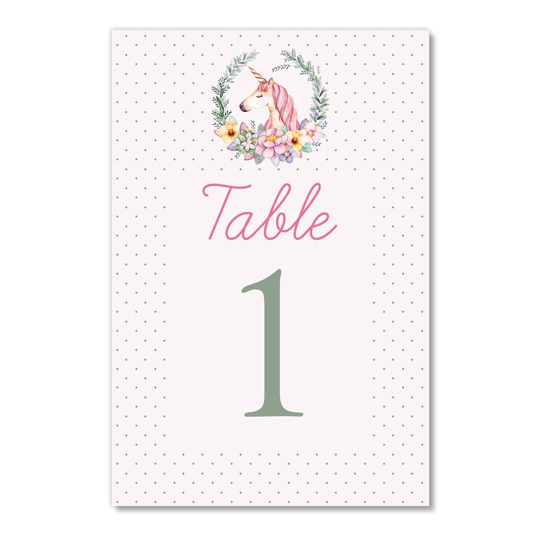 Baby Shower Table Numbers 25 Pack Pink Unicorn Floral Little Girl Child Daughter Happy Birthday Centerpiece Accessories Single Sided 4