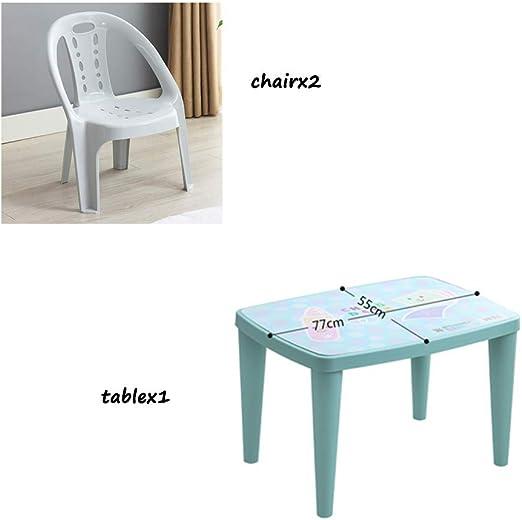 Juego de Mesa y Silla para niños, Mesa y Silla de plástico para el hogar, Caja Fuerte y Estable, Azul, 1 Mesa y 2 sillas: Amazon.es: Hogar