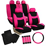 FH GROUP FH-FB030115 Light & Breezy Pink/Black Cloth Seat Cover Set Airbag & Split Ready with Steering Wheel Cover, Seat Belt Pads and Floor Mats- Fit Most Car, Truck, Suv, or Van