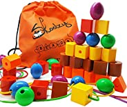 Skoolzy Lacing Beads for Kids Toddler Toy - JUMBO Primary Lacing Toys For Toddlers - Autism Fine Motor Skills Montessori Toy