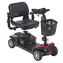 Drive Medical Scout DST 4-Wheel Travel Scooter, Red and Blue, 1 Count
